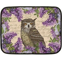 Vintage Owl And Lilac Fleece Blanket (mini) by Valentinaart