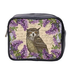 Vintage Owl And Lilac Mini Toiletries Bag 2 Side by Valentinaart