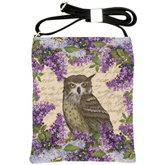 Vintage Owl And Lilac Shoulder Sling Bags by Valentinaart