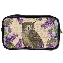 Vintage Owl And Lilac Toiletries Bags 2 Side by Valentinaart