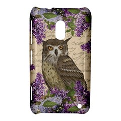 Vintage Owl And Lilac Nokia Lumia 620 by Valentinaart