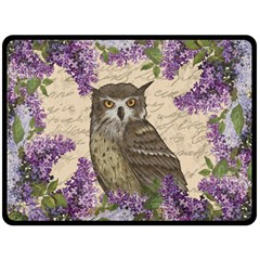 Vintage Owl And Lilac Double Sided Fleece Blanket (large)  by Valentinaart