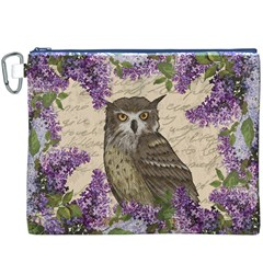 Vintage Owl And Lilac Canvas Cosmetic Bag (xxxl) by Valentinaart