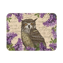 Vintage Owl And Lilac Double Sided Flano Blanket (mini)  by Valentinaart