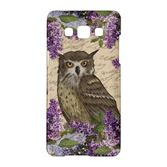 Vintage Owl And Lilac Samsung Galaxy A5 Hardshell Case  by Valentinaart