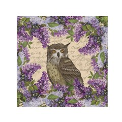 Vintage Owl And Lilac Small Satin Scarf (square) by Valentinaart