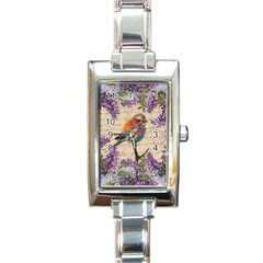 Vintage Bird And Lilac Rectangle Italian Charm Watch by Valentinaart