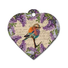 Vintage Bird And Lilac Dog Tag Heart (one Side) by Valentinaart
