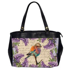 Vintage Bird And Lilac Office Handbags (2 Sides)  by Valentinaart
