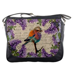 Vintage Bird And Lilac Messenger Bags by Valentinaart