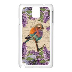 Vintage Bird And Lilac Samsung Galaxy Note 3 N9005 Case (white) by Valentinaart