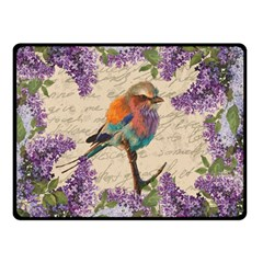 Vintage Bird And Lilac Double Sided Fleece Blanket (small)  by Valentinaart
