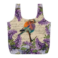 Vintage Bird And Lilac Full Print Recycle Bags (l)  by Valentinaart