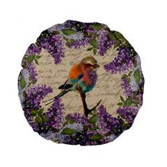 Vintage Bird And Lilac Standard 15  Premium Flano Round Cushions by Valentinaart