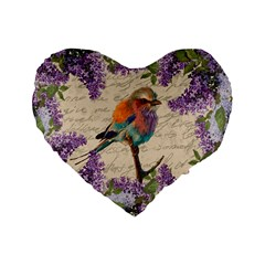Vintage Bird And Lilac Standard 16  Premium Flano Heart Shape Cushions by Valentinaart
