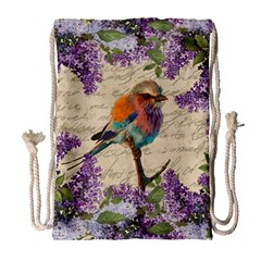 Vintage Bird And Lilac Drawstring Bag (large) by Valentinaart