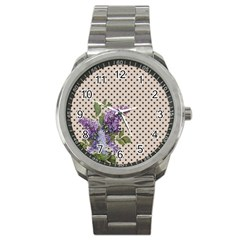 Vintage Lilac Sport Metal Watch by Valentinaart
