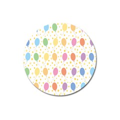 Balloon Star Rainbow Magnet 3  (round) by Mariart