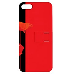 Flower Floral Red Back Sakura Apple Iphone 5 Hardshell Case With Stand by Mariart
