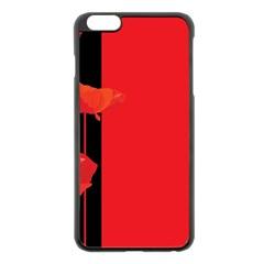 Flower Floral Red Back Sakura Apple Iphone 6 Plus/6s Plus Black Enamel Case by Mariart