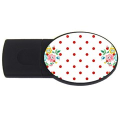 Flower Floral Polka Dot Orange Usb Flash Drive Oval (2 Gb) by Mariart