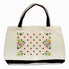 Flower Floral Polka Dot Orange Basic Tote Bag by Mariart