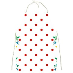 Flower Floral Polka Dot Orange Full Print Aprons by Mariart