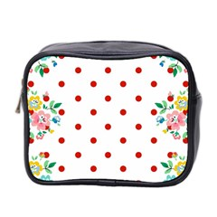 Flower Floral Polka Dot Orange Mini Toiletries Bag 2 Side by Mariart