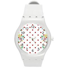 Flower Floral Polka Dot Orange Round Plastic Sport Watch (m) by Mariart