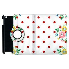 Flower Floral Polka Dot Orange Apple Ipad 3/4 Flip 360 Case by Mariart
