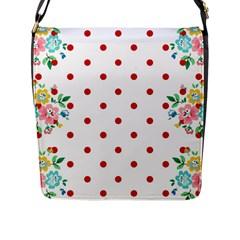 Flower Floral Polka Dot Orange Flap Messenger Bag (l)  by Mariart