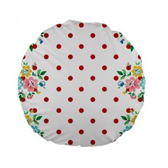 Flower Floral Polka Dot Orange Standard 15  Premium Flano Round Cushions by Mariart