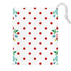 Flower Floral Polka Dot Orange Drawstring Pouches (xxl) by Mariart