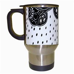 Batik Rain Black Flower Spot Travel Mugs (white) by Mariart