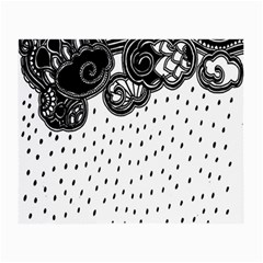 Batik Rain Black Flower Spot Small Glasses Cloth by Mariart