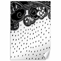 Batik Rain Black Flower Spot Canvas 12  X 18   by Mariart