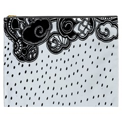 Batik Rain Black Flower Spot Cosmetic Bag (xxxl)  by Mariart