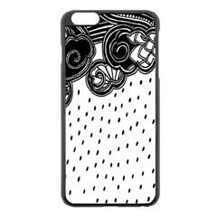 Batik Rain Black Flower Spot Apple Iphone 6 Plus/6s Plus Black Enamel Case by Mariart