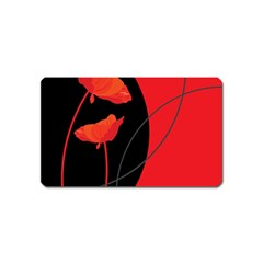 Flower Floral Red Black Sakura Line Magnet (name Card) by Mariart