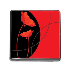 Flower Floral Red Black Sakura Line Memory Card Reader (square) by Mariart