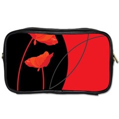 Flower Floral Red Black Sakura Line Toiletries Bags 2 Side by Mariart
