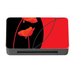 Flower Floral Red Black Sakura Line Memory Card Reader With Cf by Mariart