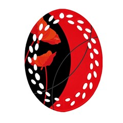 Flower Floral Red Black Sakura Line Ornament (oval Filigree) by Mariart