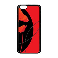 Flower Floral Red Black Sakura Line Apple Iphone 6/6s Black Enamel Case by Mariart