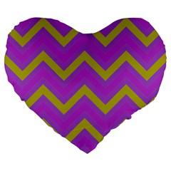 Zig Zags Pattern Large 19  Premium Heart Shape Cushions by Valentinaart