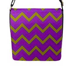 Zig Zags Pattern Flap Messenger Bag (l)  by Valentinaart