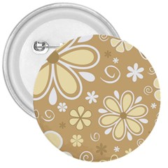 Flower Floral Star Sunflower Grey 3  Buttons by Mariart