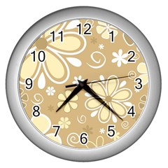 Flower Floral Star Sunflower Grey Wall Clocks (silver)  by Mariart
