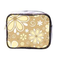 Flower Floral Star Sunflower Grey Mini Toiletries Bags by Mariart
