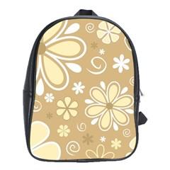 Flower Floral Star Sunflower Grey School Bags (xl)  by Mariart